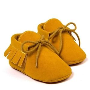 Other - Mustard Fringe Baby Moccasins Vegan Suede - Size 4